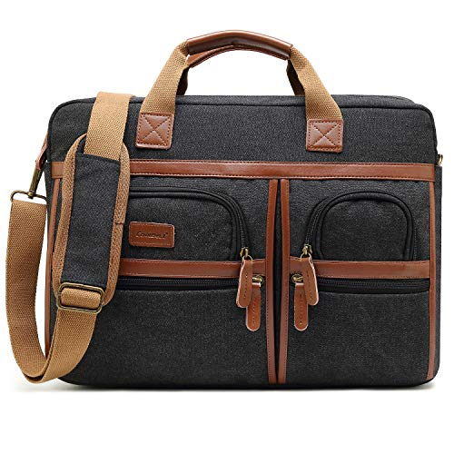 CoolBELL 17.3 Inches Laptop Messenger Bag Protective Shoulder Bag Canvas Business Briefcase Multi-Functional Computer Case for Men/Women / College/School (Canvas Black)
