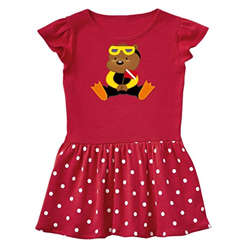 inktastic Scuba Diver Teddy Bear Toddler Dress 3T Red With Polka Dots 5832