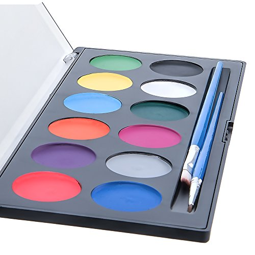 Face Paint for Kids - 12 Color, 2 Professional Brushes, Stencils, Sturdy Slimline Cosmetics Case - Professional Quality Facepaints by Blue Squid - Water Based Fully FDA Compliant - Online Video Guide