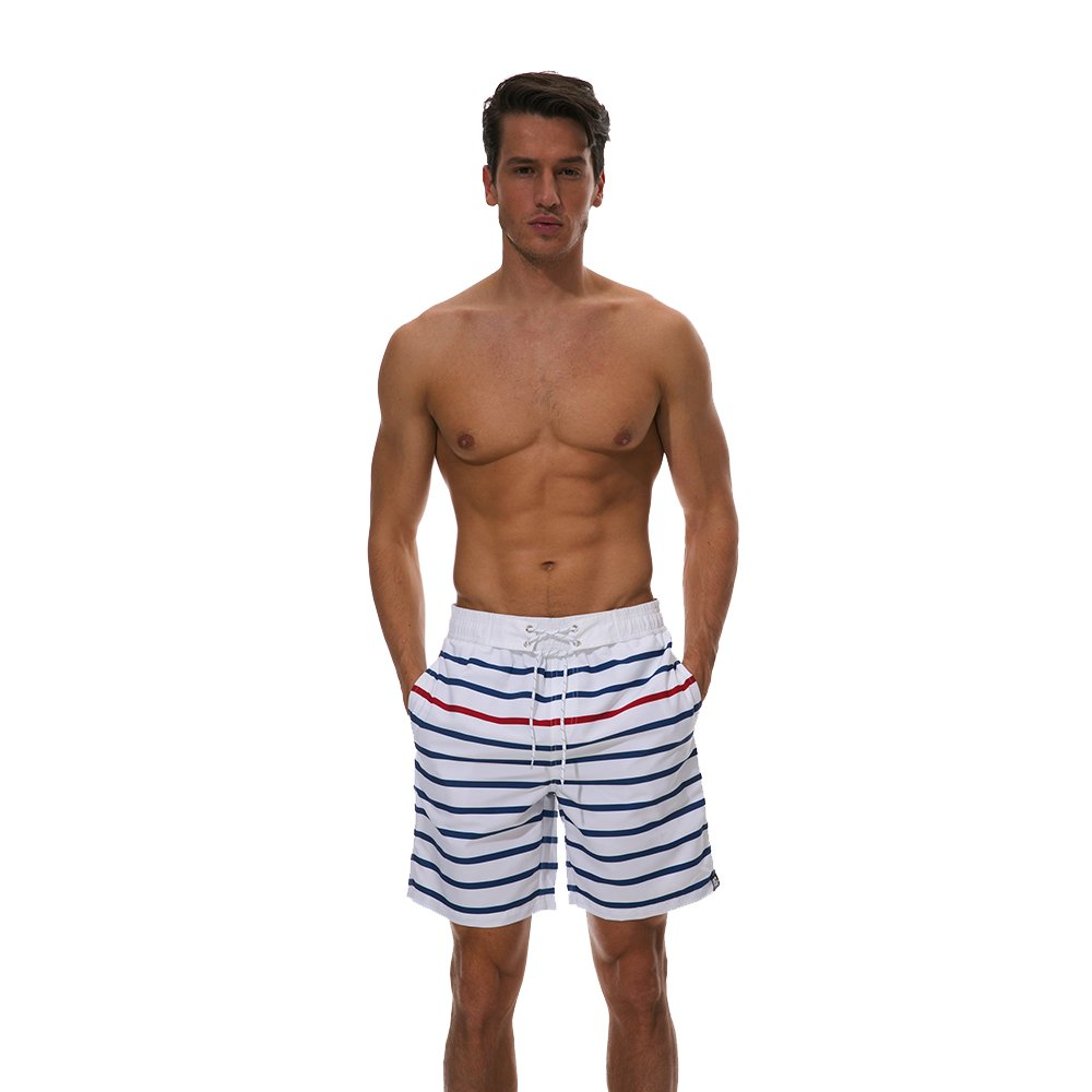 a4116122e6 White Men's Swimming Shorts Shorts Shorts Men's Beach Swimsuit Seaside  Vacation Stripe Beach Pants Waterproof Spa Swim Shorts for Leisure Travel  Mens Quick ...