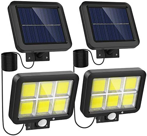 Motion Sensor Lights Outdoor Solar Powered w 240 Bright COB LED, 16.4Ft Cable, 3 Lighting Modes, Adjustable Solar Panel. Wired Security Solar Flood Lights for Indoor Outside Yard 5500K, 2 Pack