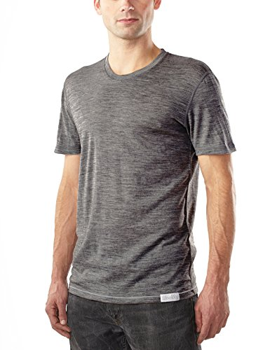 Woolly Clothing Men's Merino Wool Crew Neck Tee Shirt - Ultralight - Wicking Breathable Anti-Odor M CHR Charcoal
