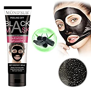 MONDSUB Black Mask Charcoal Peel off Blackhead Remover Mask Deep Purifying Pores Strips Cleansing Black Face Mask For Nose Acne Treatment