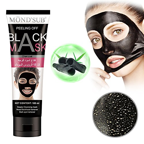 Black Mask Black Charcoal Peel off Blackhead Remover Mask Deep Purifying Pore Cleansing Suction Mud Mask for Face &Nose Acne (Black Peel)