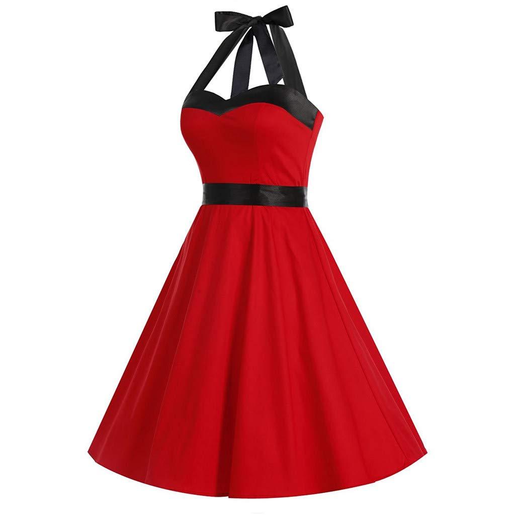 Moda Vintage para Mujer Vestido Sin Mangas Vestido De Bola Swing Solid Bow Vestido Retro