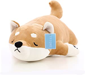 """UNIQME Dog Plush Doll Stuffed Shiba Inu 3D Animal Zoo Pet Throw Pillow Bed Nursery Decoration Baby Play Toy Puppy Shape Sleeping Pillow Gift for Girl Boy 21.6"""" (21.6 inch)"""