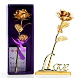 SandiaSummer 24K Gold Foil Rose Handmade Plated Forever Flower with Plastic Base as Giveaway