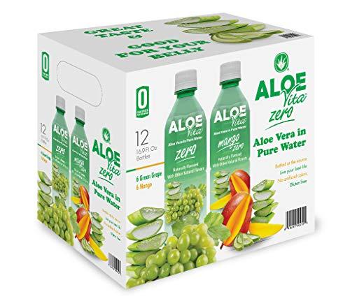 AloeVita Organic Aloe Vera Pure Water Zero Calorie Variety Pack (6 Green Grape Zero & 6 Mango Zero) Drink, Gluten Free, Vegan, 16.9 fl. oz., 12 Pack