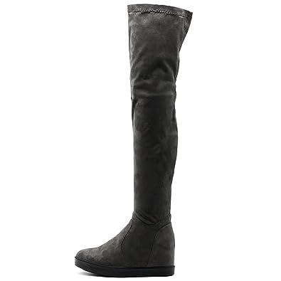 bcc80a0e5b2 Ollio Women s Shoes Stretch Faux Suede Thigh High Platform Flat Long Boots  TWB01019 (6.5 B