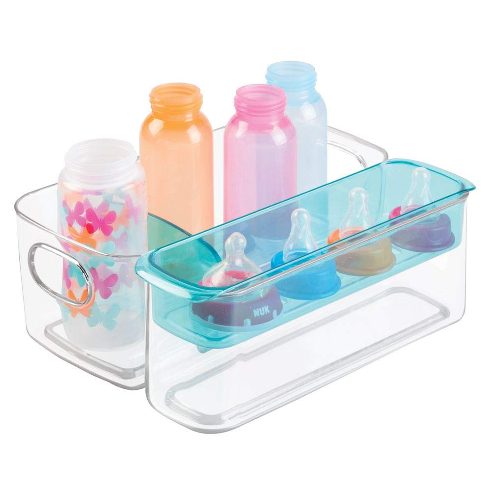 mDesign Plastic Adjustable Storage Center for Kitchen Cabinet, Pantry, Refrigerator, Countertop - Holds Kids/Toddlers Bottles, Sippy Cups, Baby Food Jars - 3 Pieces - Clear/Aqua Blue by mDesign