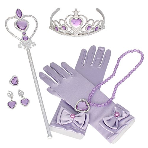 Tdmall Princess Crown Tiara Butterfly Wand Blue Gloves Cosplay Dress up Accessories Set of 5 (Purple)]()