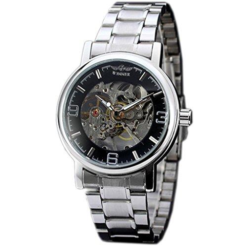E-future WINNER Skeleton Dial Men's Stainless Steel Mechanical Hand Wind Watch (Mens Steel Mechanical Watch)