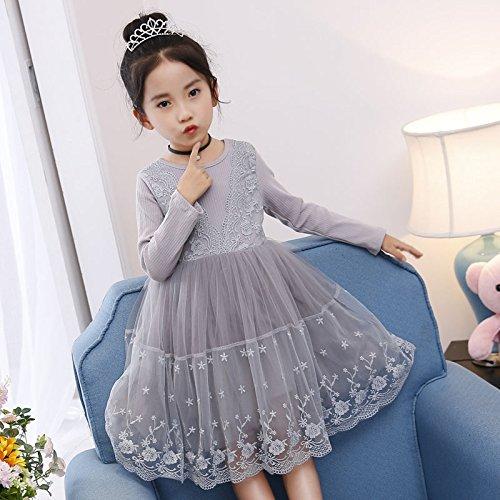 Con Encaje gray XIU Y RONG Niñas Vestidos De Y Falda Princesa De Vestidos TqxS06Y7xw