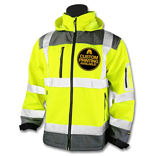 (KwikSafety (Charlotte, NC) GALAXY Class 3 SoftShell Safety Jacket | ANSI Water Resistant Lightweight Reflective Hi Vis PPE Detachable Hood| Wind Rain Construction, Men Women Yellow | Large)