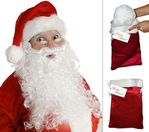 Santa Claus Wig & Beard (Deluxe Santa Wig and Beard Santa Beard and Wig Set Santas Beard)