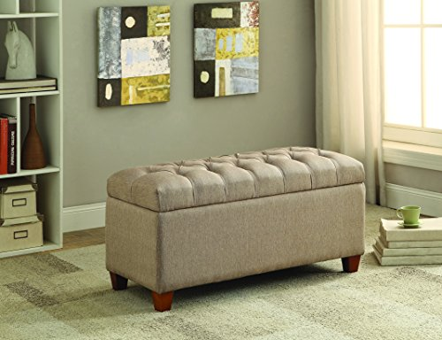 Bedroom Traditional Bench - Coaster Traditional Tufted Storage Bench, Taupe