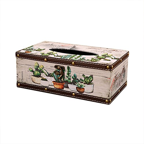- LANGUGU Vintage Chic Shabby Wooden Tissue Box Holder Rectangle Handcraft Tissue Paper Box Cover Napkin Organizer Holder Home Storage Room Office Car Decoration with Metal Lock (Cactus Ball)