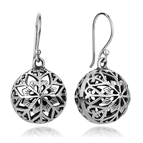 (925 Sterling Silver Bali Inspired Mandala Flower Open Filigree Puffed Ball Dangle Hook Earrings 1.3