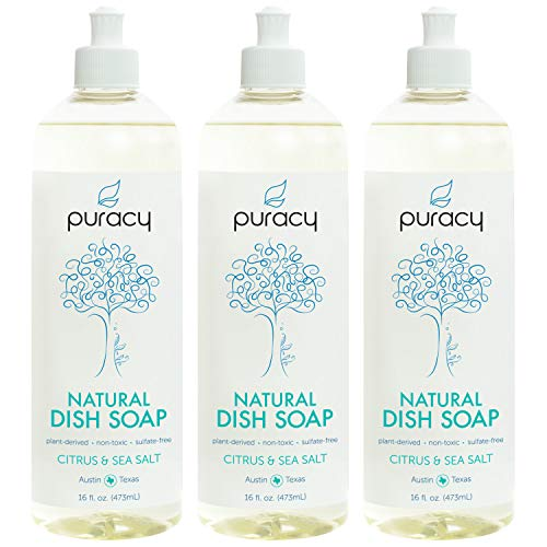 (Puracy Natural Dish Soap, Citrus & Sea Salt, Sulfate-Free Liquid Detergent, 16 Ounce (3-Pack))