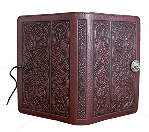 Genuine Leather Refillable Large Notebook Cover for 5.25 x 8.25 Inch Notebooks | Tooled Celtic Hounds, Wine with Pewter Button | Made in the USA by Oberon - Oberon Journal