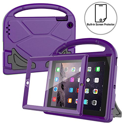 AVAWO Kids Case Built-in Screen Protector for iPad 2 3 4 (Old Model)- Shockproof Handle Stand Kids Friendly Compatible with iPad 2nd 3rd 4th Generation (Purple) (For Ipad 1st Generation Cover)