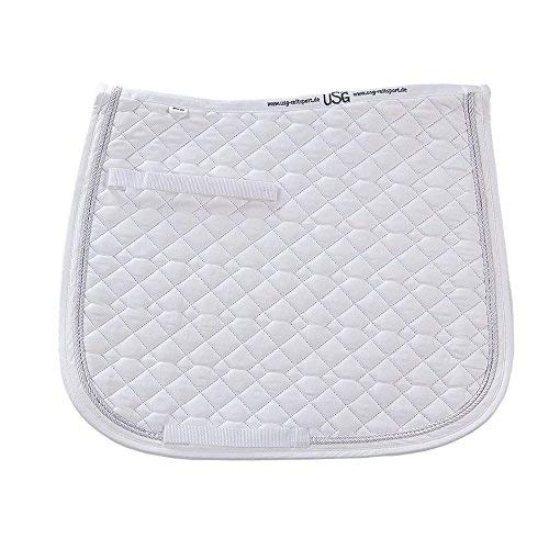 (White, Full) USG Dressage Quillted Saddle Cloth with Double Rope Piping, Full, White  White with Border, White