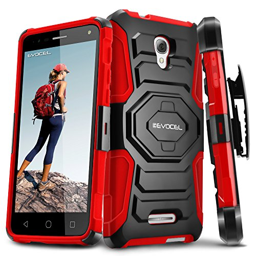 Alcatel OneTouch Fierce 4 Case, Evocel [New Generation Series] Belt Clip Holster, Kickstand, Dual Layer for Alcatel OneTouch Fierce 4, POP 4+ 5.5 inch, OneTouch Allura (5056), Red (One Touch Alcatel 5 Phone Cases)