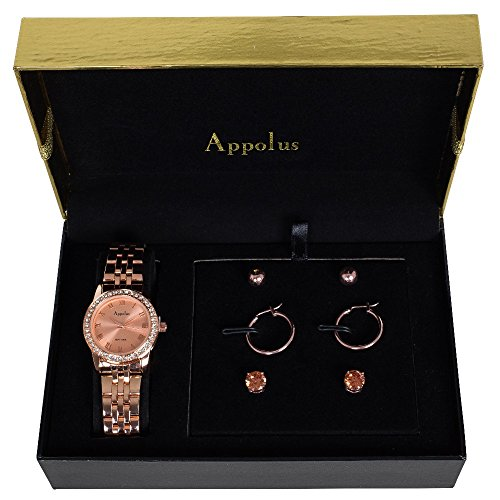 Valentines Day Gift for Her Mom Wife Girlfriend - Watch Gift Set Rose Gold Tone by Appolus - Birthday Graduation Anniversary Gifts (RoseGold2)