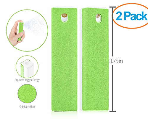 Screen 1 Cleaner (Ecran All in One Microfiber Screen Cleaning Tool for LED & LCD TV, Computer Monitor, Laptop, and iPad Screens - 100 Uses - Portable & Compact - Green - 2 Pack)
