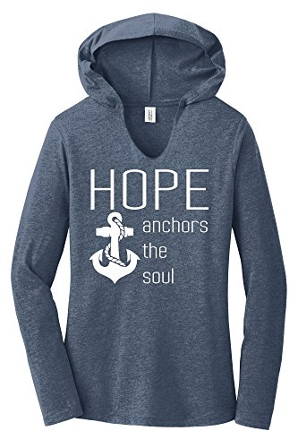 Comical Shirt Ladies Hope Anchors The Soul Inspirational Tee Navy Frost ()