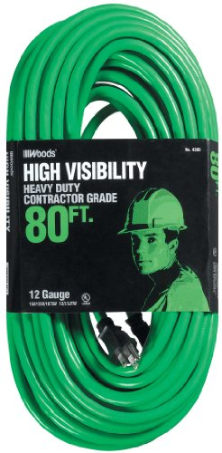 Woods 4309 12/3 SJTW High Visibility Outdoor Extension Cord, Neon Green, 80-Feet