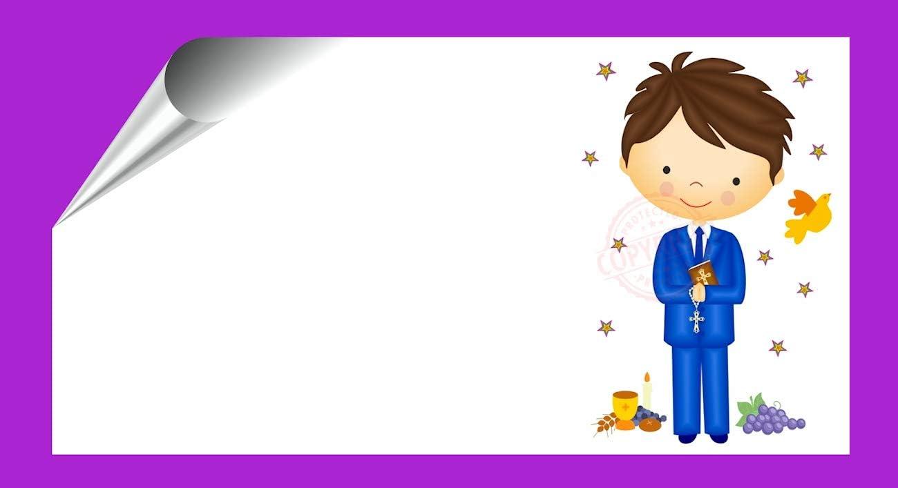 Kit 96 Etiquetas Mi Primera COMUNIÓN - Pegatinas Adhesivas Personalizables Niño Comunion para Regalo, Invitacion, Fiesta, Candy Bar, Obsequios, Botes Chuches, Dulces, Tarros