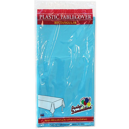 Party Dimensions Single Count Rectangular Plastic Tablecover, 54 by 108-Inch, Island Blue -