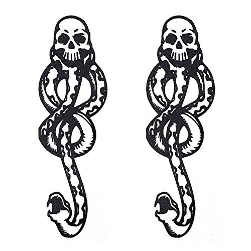 COKOHAPPY Temporary Tattoo ( set-of 2 ) , Mamba Death-Eaters Dark Mark Skull -