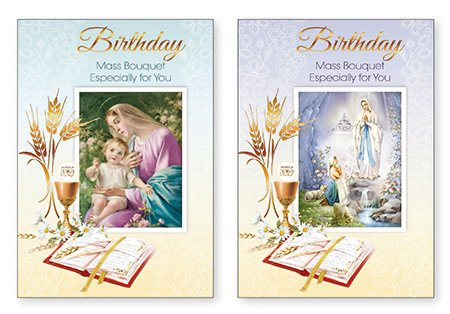 Pack 2 Catholic Birthday Mass Cards A Mass Bouquet Especially For