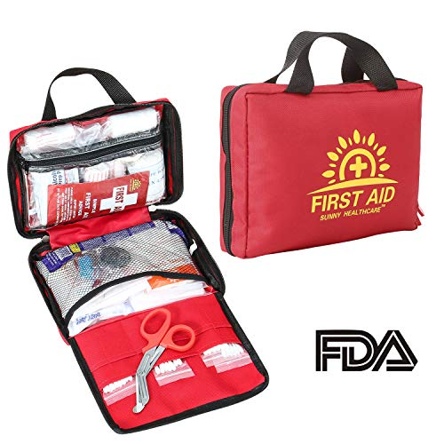 188 Pieces First Aid Kit – All-Purpose with Hospital Grade Medical Supplies for Emergency and Soft Case for Home, Office, Business, Car, Camping and Travel