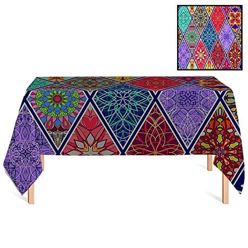 SATVSHOP Rectangle Tablecloths /70x156 Rectangular,Farmhouse Mega Geometric Diagonal Pieced Mosaic Tile with Authentic Arabesque Lin for Wedding/Banquet/Restaurant.
