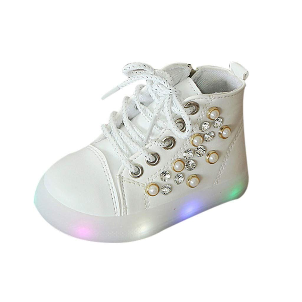 Kauneus Baby Girls Fashion Rhinestone Ankle Boots LED Light-up Shoes Lace Up Side Zipper High Top Sneakers Short Boot White by Kauneus Kid Shoes NEW