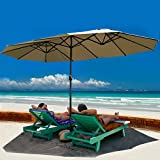 Cheap TANGKULA 15 Ft Patio Umbrella Double-Sided Steel Outdoor Market Table Umbrella with Crank (Beige)