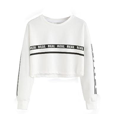 f421de155204 Angelof Pull Femmes Sweatshirt Femme Bleu Mode Lettre Blanche Imprimer  Culture Coton Sweatshirt Top Blouse (