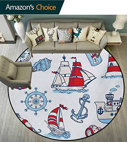 (RUGSMAT Nautical Warm Soft Cotton Luxury Plush Baby Rugs,Symbolic Sea Creatures Navigation Gulls Compass Kids Holiday Shell Water Rope Design Kids Teepee Tent Game Play House Round,Diameter-24 Inch)