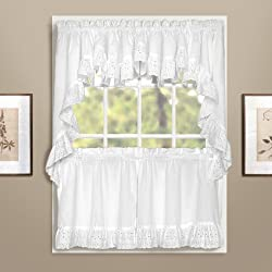 American Curtain and Home Deanna Tier, 60-Inch by 36-Inch, White, Set of 2
