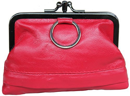 Visnow Genuine Fram Red Clutch Soft Triple Purse Small Wallet Leather Metal F11nrP
