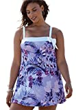Roamans Women's Plus Size Side Bow Swimdress Dusty Purple Floral,28
