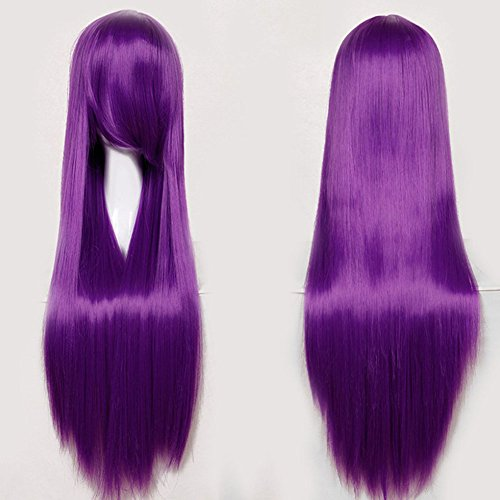 Anime Cosplay Full Wig with Bangs 24-40inch 13 Colors Japanese Kanekalon Fiber Heat Resistant Synthetic Wig Long Straight Vogue 32'' / 80cm for Women Girls Lady Fashion (purple) - Prom Queen Halloween Costume Diy