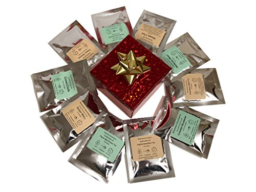 Beantown Tea & Spices - Gourmet Tea Sampler Gift Set. 10 Premium Variety Loose Leaf Tea Samplers and 50 Easy to Use Paper Infusers. Green Tea, Black Tea, White Tea and Herbal Tea. All Natural.