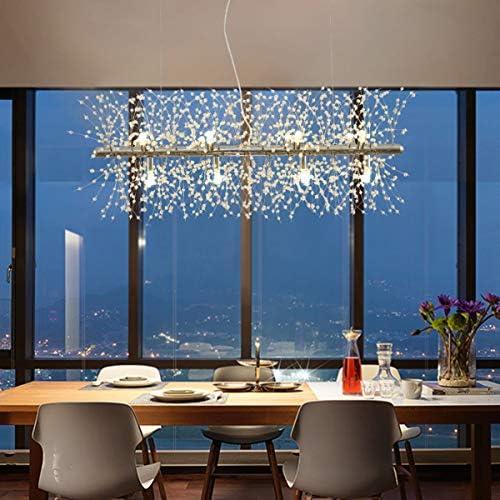 Ganeed Chandeliers Firework,12-Light LED Pendant Lighting,Modern Crystal Stainless Steel Hanging Light Fixture for Dinner Table Bedroom Living Room Porch L 36.5 Chrome
