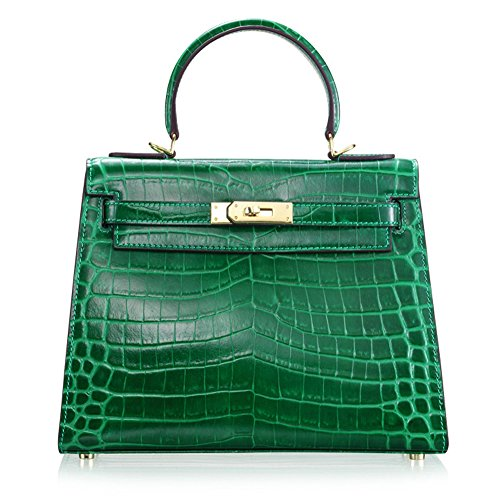 Ainifeel Women's Padlock Crocodile Embossed Patent Leather Shoulder Handbags (28cm, Green)