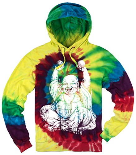 Yoga Clothing For You Mens Laughing Buddha Tie Dye Hoodie, XL Michaelangelo (Mens Buddha Sweatshirt)