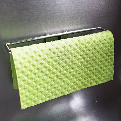 BEST Dish Cloth Holder Caddy for Kitchen Sink | Premium Stainless Steel No Suction Sponge Cloths Hanger Dryer for Washcloth Swedish Dishcloth | Not Magnetic. Uses Detachable Adhesive